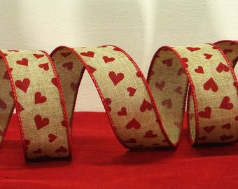 "Wired Burlap Valentines Day Ribbon ~ 1.5"" Natural Faux Linen Ribbon with Red Hearts ~ Valentine's Day Craft / Home Decor Ribbon ~ 3 Yards"