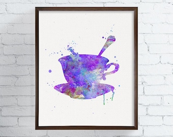 Tea Cup Art, Tea Cup Print, Watercolor Tea Cup, Kitchen Wall Decor, Kitchen Wall Art, Teacup Art, Teacup Print, Housewarming Gift, Framed