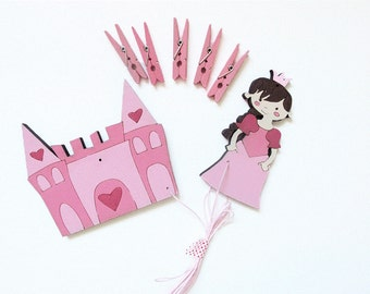 Children's  Artwork display hanger- Princess and Palace- Pink  wall art for girls - kids wall decor hangers, baby shower decoration