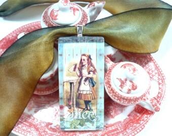 Alice Drink Me Pendant, Alice Photo Glass Pendant Necklace, Alice in Wonderland Necklace, Alice in Wonderland Jewelry