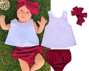 Free shipping to PR and US, White and Wine clothing set,Cotton set,Newborn clothing set,Bloomer wine,Baby outfit