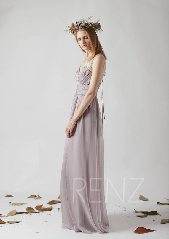 Bridesmaid Dress Rose Gray Chiffon DressWedding DressRuched
