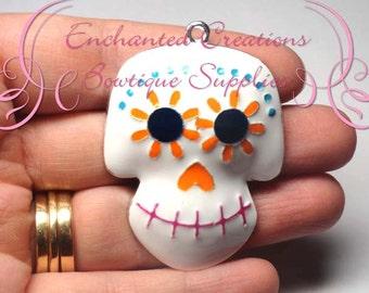 White Sugar Skull Day Of The Dead Charm, Jack O Lantern Chunky Pendant, Keychain, Bookmark, Zipper Pull, Chunky Jewelry, Purse Charm