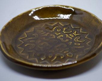 Handmade ring/trinket dish with stamped mandala.