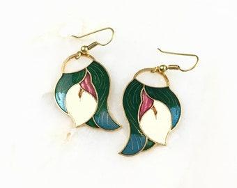 Vintage Cloisonne Calla Lily Floral Earrings