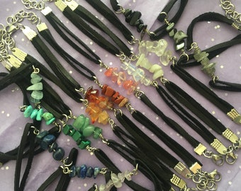 Leather & Crystal Chip Bracelet - Healing Stones, Rainbow, Stackable