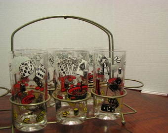 Vintage /Mid Century Gambling Motif High ball Glasses