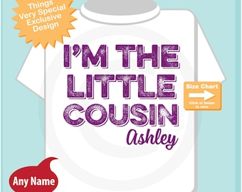 Girls I am the Little Cousin TShirt or Onesie Personalized, Infant, Kids, Toddler or Youth Clothing sizes Pregnancy Announcement 07102014h