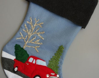 "Christmas Stocking Personalized--""My Red Truck"""