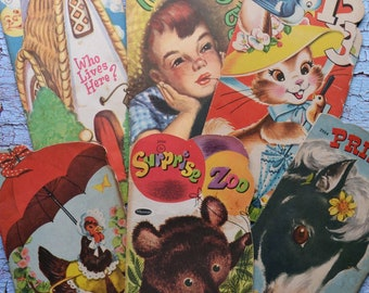 6 Vintage Children's Shape Books Whitman Prince Surprise Zoo Hattie Hen