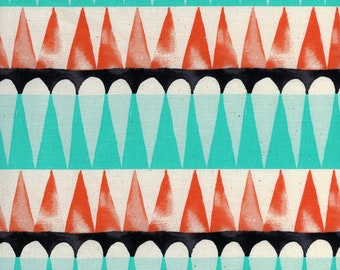 Drums Red Unbleached Cotton Fabric Santa Fe Collection for Cotton & Steel Fabrics, Sarah Watts