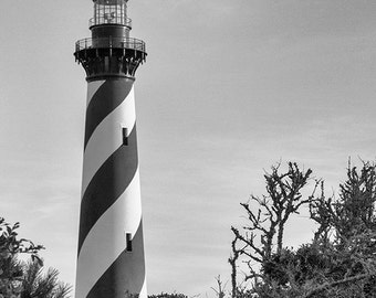 Lighthouse Photography, Nautical Print, Beach Cottage Decor, Cape Hatteras, Outer Banks, Maritime, Black & White, Coastal Art - The Beacon