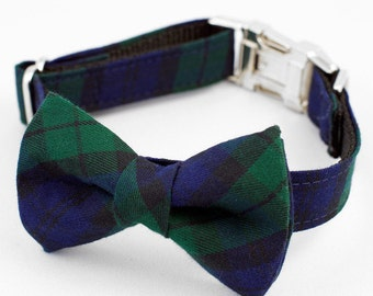 Bow Tie Dog Collar - Green and Navy Tartan