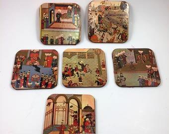 Set of Six Moorish Looking Vintage Coasters; Red Felt Bottom