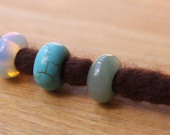 3 Dreadlock Beads Gemstone Opalite Aventurine Ceramic 5mm Hole (3/16' - 7/32')