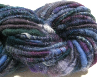 Super Bulky Handspun yarn Out of the Blue 50 yards corespun art yarn green purple blue knitting supplies crochet supplies Waldorf doll hair