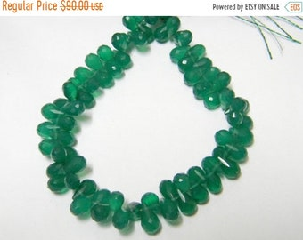 8 inch strand -- 4x6 - 5x8 mm approx-- Green Onyx Faceted Drops Briolettes