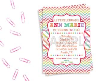 Rainbow Birthday Party Invitation, Colorful Birthday Party Invitation, Printable Rainbow Invitation, Printable Colorful Invitation
