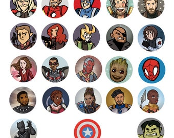 Avengers Marvel MCU Superhero 1 inch Button