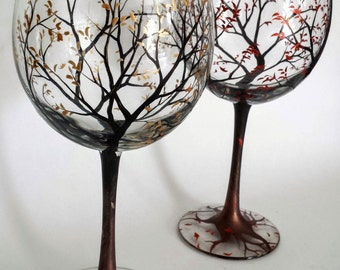 Tree Wine Glasses Set of Two Falling Leaves Autumn Fall Copper Gold Metallic Stemware Toasting Wedding Stemless Ombre Collectible Gift