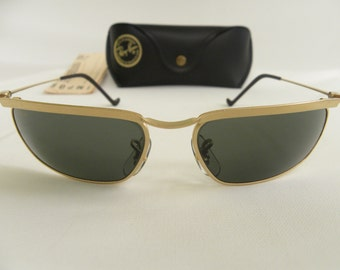 b89cd9dd31c ... germany new vintage bl ray ban new deco metal rectangle olympian matte  gold g 15 w2572 ...