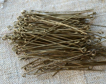 500pcs 2 inches Eyepins Antiqued Brass-Plated Steel 21 Gauge