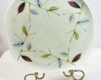 Fred Roberts square platter with leaf design yellow pink blue green retro kitchen