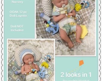 """Deluxe 12 pc BOY Set~For Mini 5-6"""" Baby Dolls~Polymer~Silicone~Reborn~Boppy Pillow~2 Diapers~Pacifier & More~NO DOLL"""