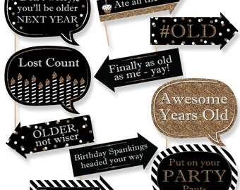 Funny Adult Happy Birthday - Gold Photo Booth Props - Birthday Party Photo Booth Prop Kit - 10 Photo Props & Dowels