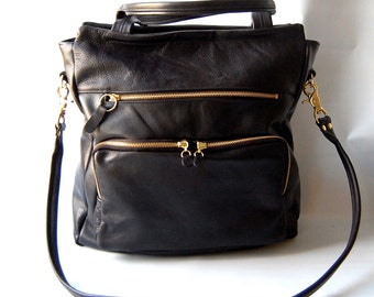 Willow leather tote in black // gold tone hardware