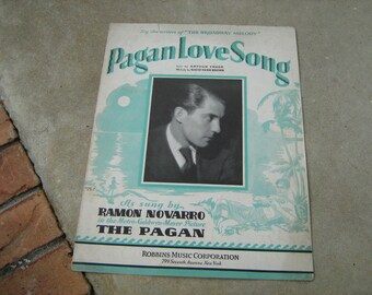 1929  vintage sheet music (  Pagan love song  )