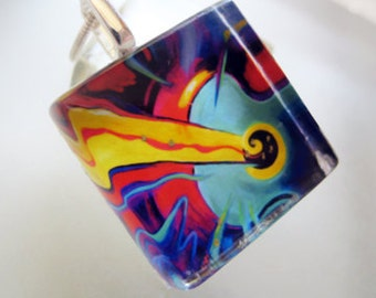 Classical POP-- glass tile art pendant with silver chain and black satin cord
