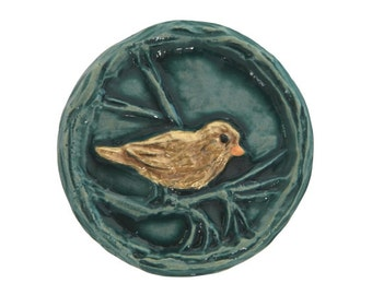 Perching Bird 1 and 3/16 inch ( 30 mm ) Susan Clarke Art Stone Button Moss and Gold Color