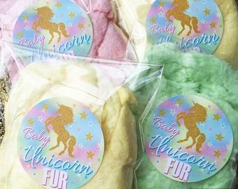 Unicorn Stickers, Unicorn Birthday party, Baby Unicorn Fur, Cotton Candy, Unicorn Hair, Personalized, Rainbow Unicorn, unicorn favors