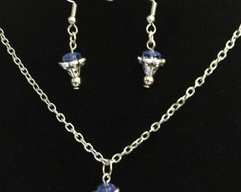 Blue Rose Necklace Set