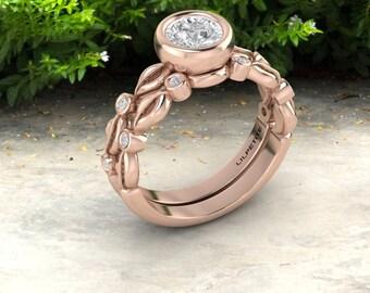 Leaf wedding ring, Leaves engagement ring, art nouveau wedding ring sets, Alternative bridal set, Engagement ring for nature lover