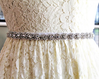 Wedding Dress Sash with Crystal Appliqué, Bridal Sash, Wedding Dress Narrow Sash, Bridesmaid belt, Party Dress  Crystal Belt, MOB dress belt