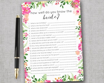 How Well Do You Know the Bride Game Bridal Shower Game Printable Floral   Wedding Shower Games Instant Download   Bachelorette Party Game