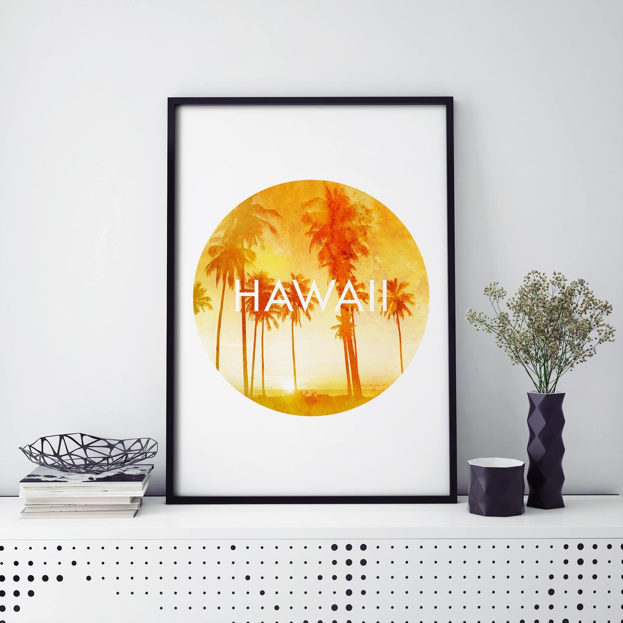 Hawaii Palm Trees Watercolour Print Wall Art 4x6 5x7 A4 A3