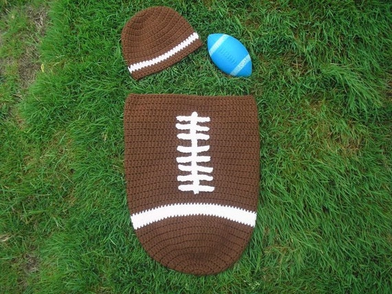 Sale Instant Download Crochet Football Baby Cocoon Hat