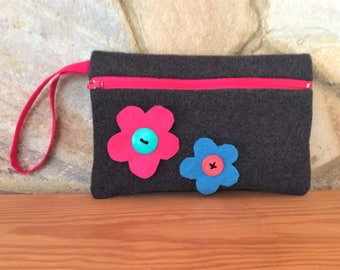 Wristlet Purse in Charcoal Wool with Colorful Felt Flower and Button Trim