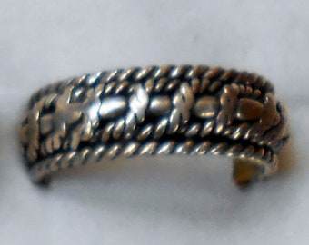 Size 9 Sterling Silver Woven Rope Braided Spinner Ring  New Vintage Wholesale Thumb Men's Wedding