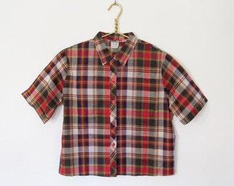 Women's Vintage 1960s Camp Shirt / Short Sleeved Plaid Cotton Button-down Top