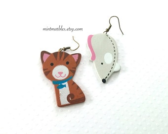 Cat and Mouse Dangle Earrings. Mismatched Fun Wood Earrings. Painted Wood. Lightweight. Under 10. Brass Earrings. Hooks. Cute. Kitty Love.
