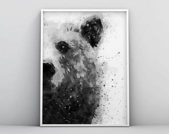 Bear Watercolour, Large Animal Prints, Bear Wall Art, Abstract Painting, Forest Animals, Jungle Woodland Printable Digital Download Poster