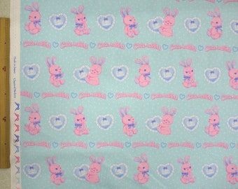 2018 Classical and Modern Japanese Fabric  / Rabbits and Hearts Oxford Green Blue -  50cm x 110cm