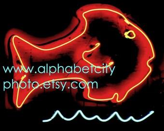 8x10 Horizontal Photo, SEAFOOD RESTAURANT FISH, Letter Photo Alphabet Art