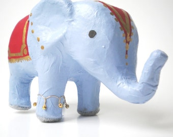 Indian Elephant, Hand Painted, Available in Custom Colors - a Happy, Festive Addition to Office or Home Decor