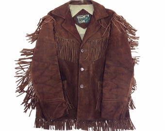 Schott Western Jacket L XL, Fringe Jacket, Brown Suede Jacket, Cowboy Jacket, 70s Festival Jacket, 1960s, Tom Petty, Rancher, Mens L XL
