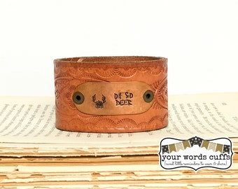 your words cuffs - hand stamped leather belt bracelet - leather cuff - honey brown with embossed floral design - oh so deer